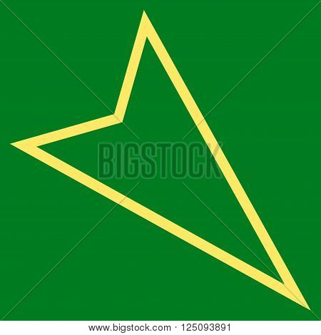 Pointer Right Down vector icon. Style is thin line icon symbol, yellow color, green background.