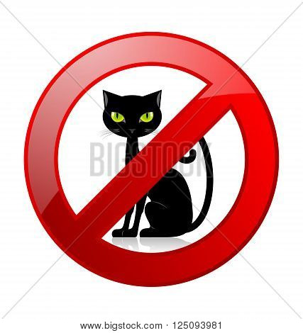 No cats allowed permission sign isolated on white background