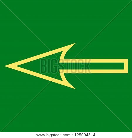 Sharp Arrow Left vector icon. Style is outline icon symbol, yellow color, green background.