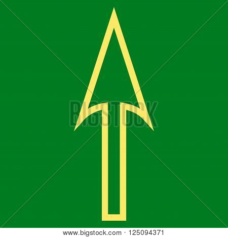 Sharp Arrow Up vector icon. Style is outline icon symbol, yellow color, green background.
