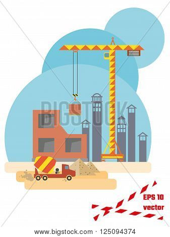 Construction site flat style. EPS10 vector illustration