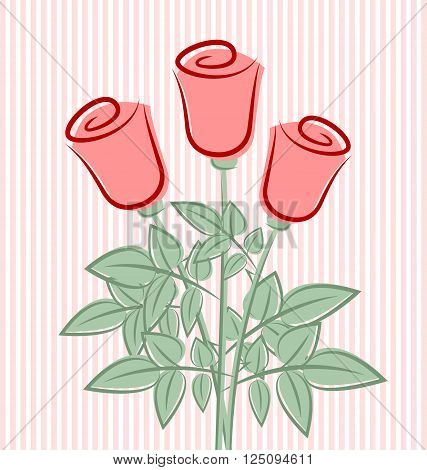 Three retro roses on striped pink background