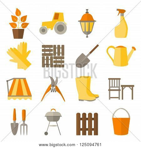 Flat design icons for gardening and plant care  include tools and DIY for garden. Set icons isolated on white.