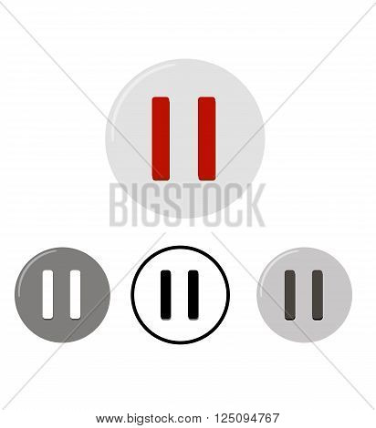 Set of pause buttons. Four vector icons