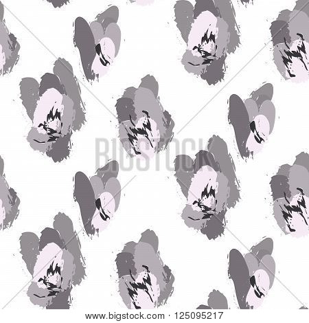 Paint ink brush strokes vector cheetah grey seamless pattern. Artistic monochrome black and white stains and swabs in abstract manner.