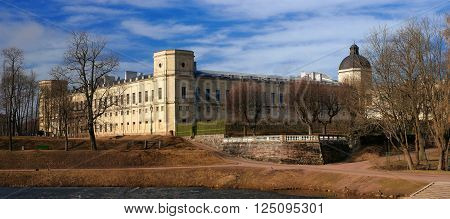 Gatchina Palace. View from the Karpin pond. View from the Karpin pond. Strict and grand palace.