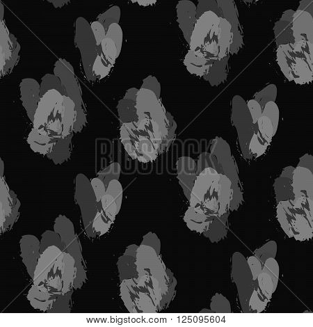 Paint ink brush strokes vector cheetah dark seamless pattern. Artistic monochrome black and white stains and swabs in abstract manner.