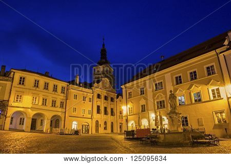Historic Square with Church of St. Wenceslas in the background in Mikulov in Czech Republic