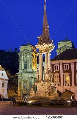Main Square with St Anne's church and Holy Trinity Statue in Mikulov in Czech Republic
