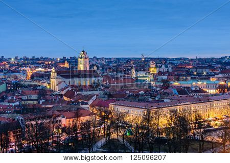 Vilnius, Lithuania - March 5: night view from Tower Of Gediminas, beautiful cityscape of Vilnius in March 5, 2016, in Vilnius, Lithuania.