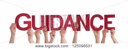 Many Caucasian People And Hands Holding Red Straight Letters Or Characters Building The Isolated English Word Guidance On White Background