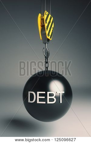 Debt concept with wrecking ball on crane hook on dark grey background. 3D Rendering