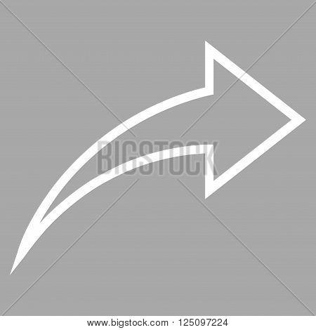 Redo vector icon. Style is stroke icon symbol, white color, silver background.