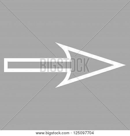 Sharp Arrow Right vector icon. Style is thin line icon symbol, white color, silver background.
