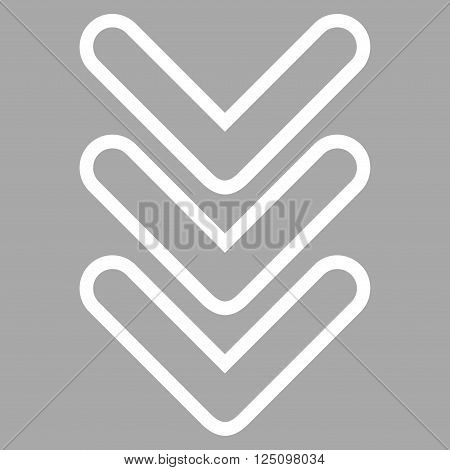 Triple Pointer Down vector icon. Style is stroke icon symbol, white color, silver background.