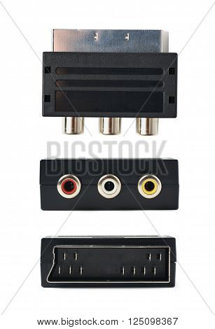 Male SCART AV black plastic adaptor isolated over the white background, set of three different foreshortenings