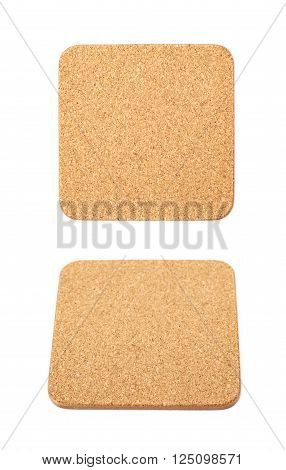 Square cork textured coaster for the drinks, composition isolated over the white background, set of two different foreshortenings