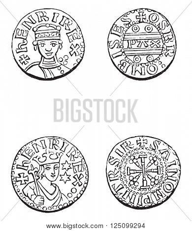 Coins minted under Henry I, vintage engraved illustration. Colorful History of England, 1837.