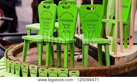 Vilnius, Lithuania - March 6: the chair of the kazukas - traditional souvenir from popular Lithuanian fair in March 6, 2016 in Vilnius, Lithuania.