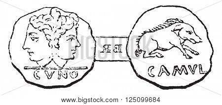 Coin struck under the son of Cunobelinus at Camulodunum (Colchester), vintage engraved illustration. Colorful History of England, 1837.
