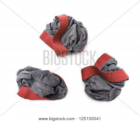 Crumpled male underpants isolated over the white background, set of three different foreshortenings