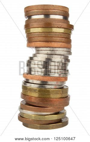 Column of metal coins. The concept of saving. Coins stacked on each other. Valid Czech coins on a white background.
