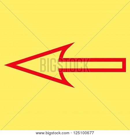 Sharp Arrow Left vector icon. Style is outline icon symbol, red color, yellow background.