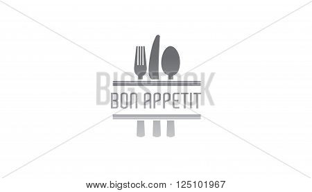 Enjoy your meal Design Illustration - knife, fork, spoon and text Bon Appetit