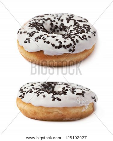 Donut pastry with a white chocolate glaze isolated over the white background, set of two different foreshortenings