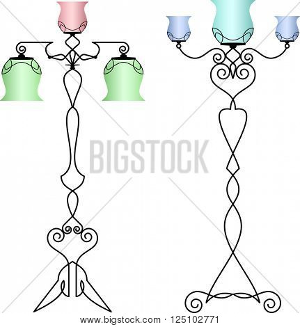 Wrought Iron Table Floor Lamp Raster Illustration
