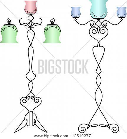 Wrought Iron Table Floor Lamp Raster Illustration