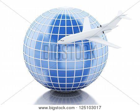 3D Illustration. Airplane flying around globe. Travel concept. Isolated white background.