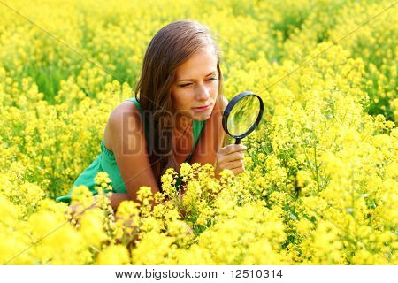 botanist woman in yellow flower