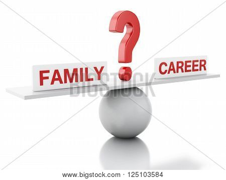 3D Illustration. Seesaw balance between family and career. Business concept. Isolated white background.