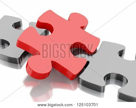 3D Illustration. Piece of a puzzle. Business and success concept. Isolated white background.