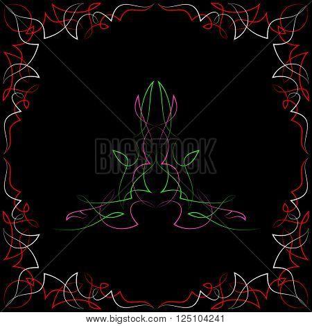 Pinstripe Corner Design Raster Illustration