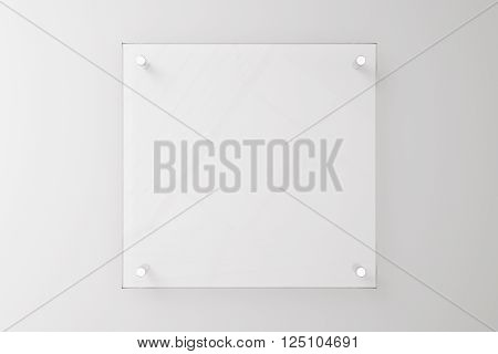 Glass plate on blank white concrete wall. Mock up 3D Rendering