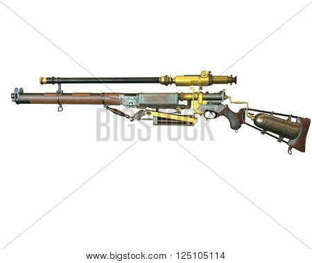 Steampunk rifle parts concept 3D illustration on white background isolated
