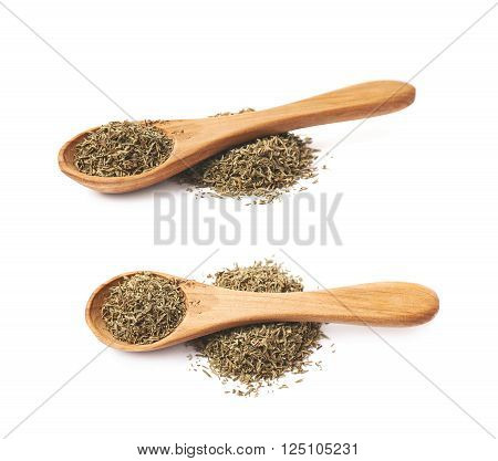 Wooden spoon over the pile of dried thyme seasoning isolated over the white background, set of two different foreshortenings