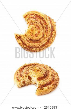 Cheese pastry bitten roll bun isolated over the white background, set of two different foreshortenings