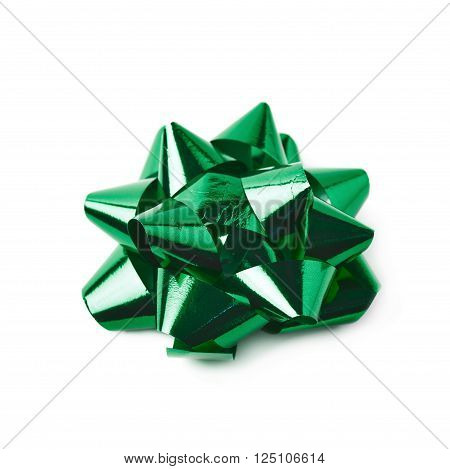 Decorational bow made of glossy green tape, composition isolated over the white background