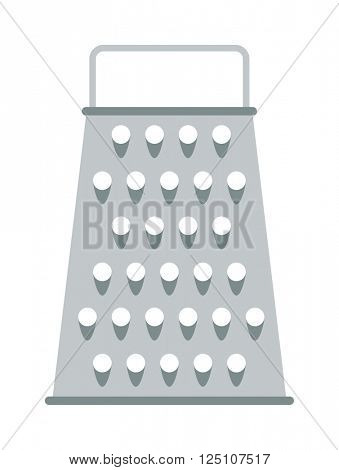 Cheese kitchen grater metal handle utensil equipment flat vector illustration.