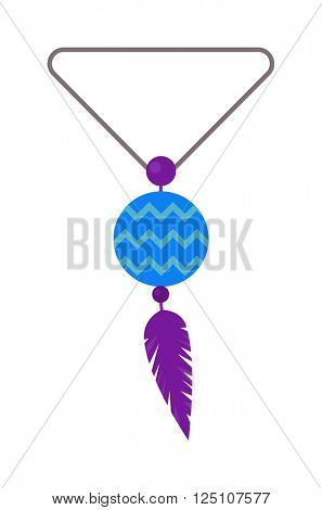 Vector illustration of tribal pendant amulet with feathers and moonstone.