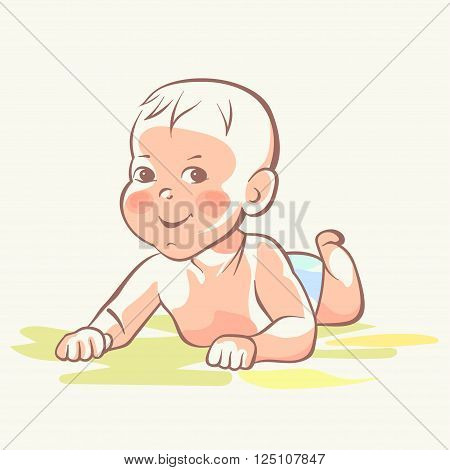 Baby boy, little baby girl, cute child, happy playful kid, smiling newborn, First year toddler cartoon on white background