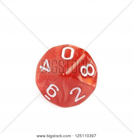 Red roleplaying polyhedral heptagonal trapezohedron gaming plastic dice isolated over the white background