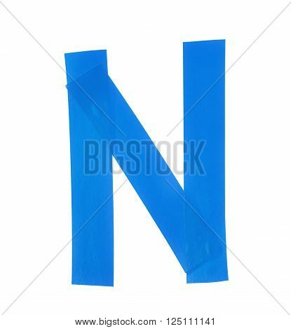 Letter N symbol made of insulating tape pieces, isolated over the white background