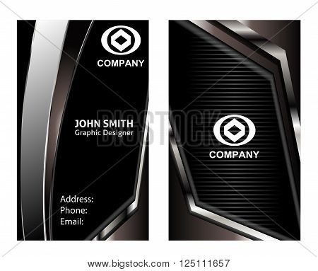 business card black vector design template black