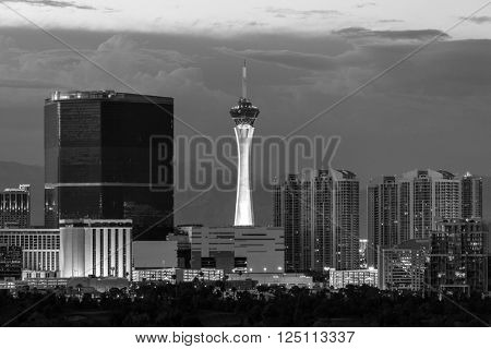 Las Vegas, Nevada, USA - June 10, 2015:  Stormy sky behind the Stratosphere and Fontainebleau towers on the Las Vegas Strip.
