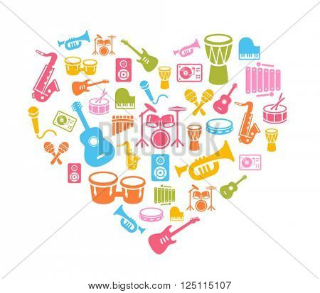 I Love Music - musical instruments icons - wallpaper. Can be used on print materials or on websites with subjects related to music, dance, singing, concerts or playing musical instruments.