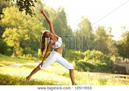 Yoga Woman on grünen Park background